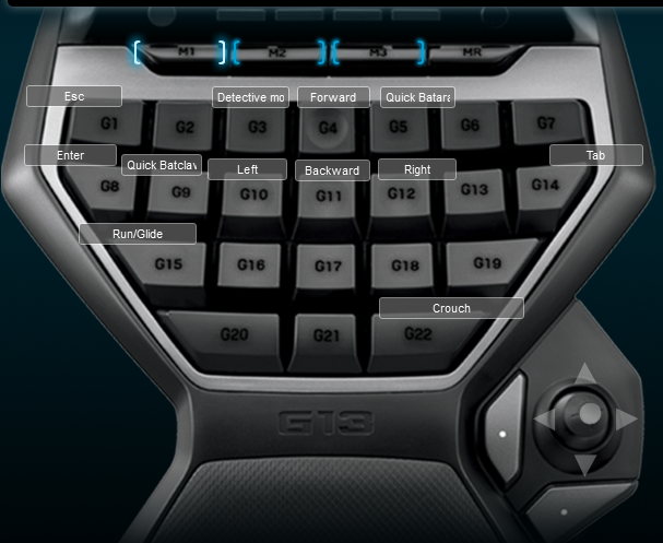 Batman Arkham Asylum Logitech G13 Keyboard Profile