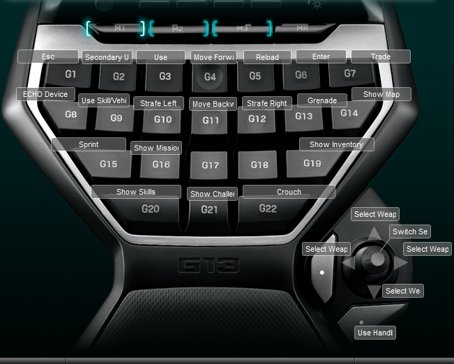 Borderlands 2 Logitech G13 Keyboard Profile