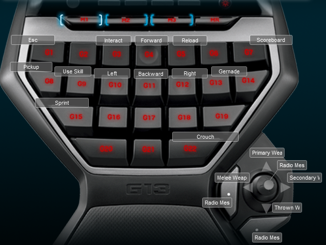 Ghost in the Shell Stand Alone Complex First Assault Online Logitech G13 Keyboard Profile