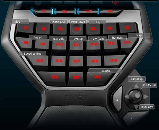 Kerbal Space Program Logitech G13 Keyboard Profile
