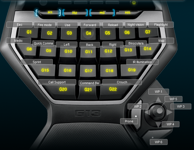 Operation Flashpoint Dragon Rising Logitech G13 Profile mouse layout