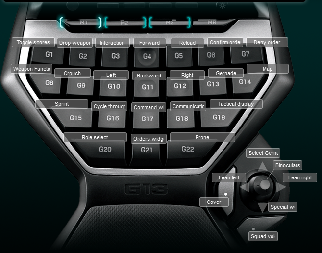 Red Orchestra 2 Logitech G13 Keyboard Profile
