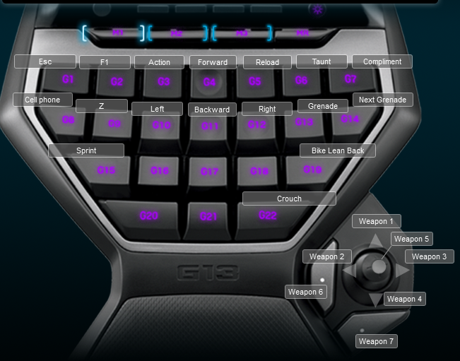 Saints row the third Logitech G13 Keyboard Profile