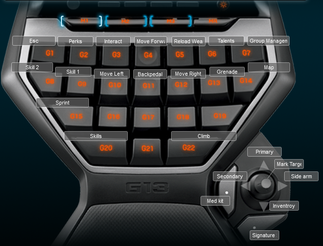 Tom Clancy's Rainbow Six Siege Logitech G13 Keyboard Layout